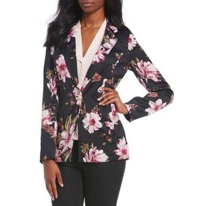 Calvin Klein Floral Black One Button Blazer Jacket